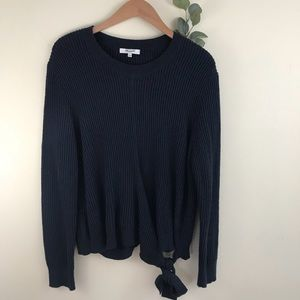 Madewell Navy Wrap Side Tie Pullover Sweater